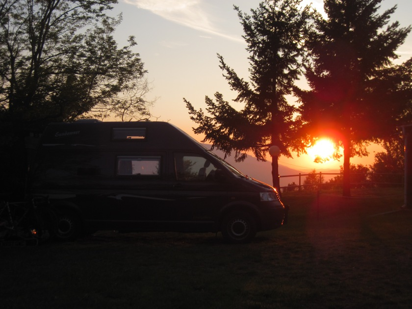 2012-05-29 011 Passo del Futa campsite and sunset and van